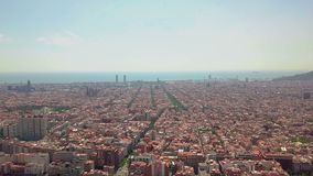Summer day Barcelona cityscape aerial panorama Spain stock video