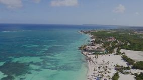 Flying over the beach. Palm trees sun, sea shore stock video