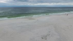 Flying over the beach in Pensacola beach, Florida. Gulf Islands National Seashore.  stock video