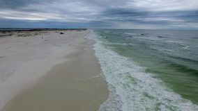 Flying over the beach in Pensacola beach, Florida. Gulf Islands National Seashore.  stock video footage