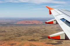 Flying over the beautiful Australian outback on a warm sunny day stock photos