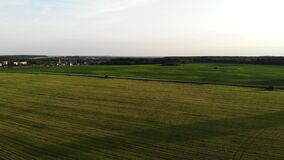 Flying over beautiful country side landscape with field and trees, on sunset, aerial shot, drone, view from above. Video stock video