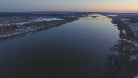Flying over the beautiful river in high water stock video footage