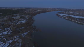 Flying over the beautiful river in high water stock footage