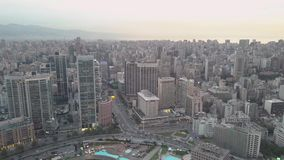 Flying over Beirut Zaytunay bay marina and downtown. Drone aerial shot of Beirut, Lebanon, during sunset.