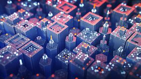 Free Flying Over Blue And Red Industrial Microworld 3D Render Illustration Stock Photos - 199318433