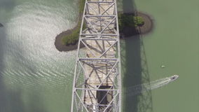Flying over the Bridge of the Americas Royalty Free Stock Image