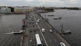 Flying over the bridge in St. Petersburg stock video