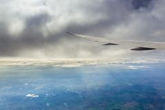 Flying over the British countryside stock photography