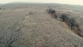 Flying over the brown hills. With miston the horizont stock footage