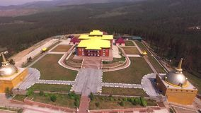 Flying over the Buddhist temple in Ulan-Ude stock video footage