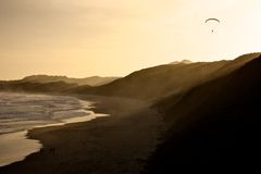 Flying over Capetown. Cape Town beach at sunset, South Africa Royalty Free Stock Photo