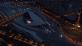 Flying over City of Arts and Sciences in Valencia at night stock footage