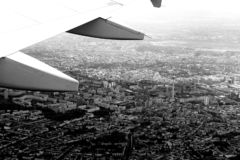 Flying over the city Berlin stock photo