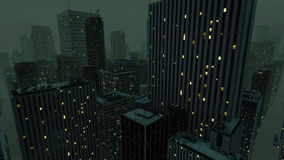 Flying over the city at night. Flying over the 3d city at night stock footage