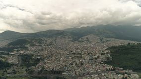 Flying over the city of Quito, Ecuador. 4k, drone stock video footage
