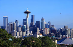 Flying over the city of Seattle WA. Royalty Free Stock Image