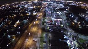 Flying over the city tonight stock video footage