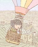 Flying over the city. Vector image of a little girl with a cat in a balloon over the city Royalty Free Stock Photo