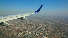 Flying over the city stock footage