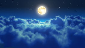 Flying over the clouds in the night with the moon.