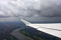 Flying over D�sseldorf Stock Photos