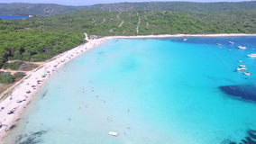 Flying over Dalmatian paradise island stock footage