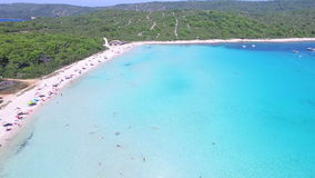 Flying over Dalmatian paradise island stock video