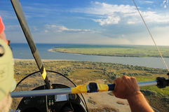 Flying over Danube Delta Royalty Free Stock Image