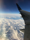 Flying over Eastern Canada. Over-the-wing passenger-seat shot in an Airbus-340 flying over Eastern Canada Stock Photo