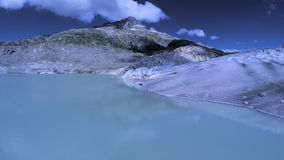 Flying over epic glacier panoramic landscape scenery melting glaciers ice stock video footage