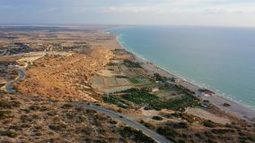 Flying over Episkopi bay and Kourion stadium and archaeological site. Limassol District, Cyprus.  stock video