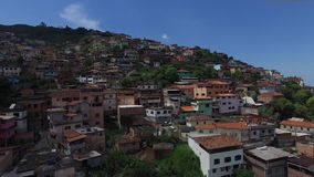Flying over favela in Brazil, South America.  stock video footage