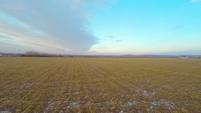Flying Over the Fields to the Horizon stock footage