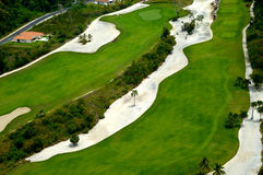 Flying over golf course Stock Photography