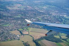Flying over the British countryside royalty free stock image