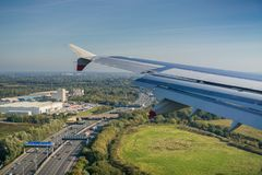 Flying over a highway close to London royalty free stock photos