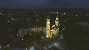 Flying over Holy Cross Greek Catholic Cathedral in Uzhhorod, Transcarpathia, Ukraine stock video footage