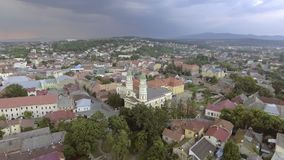 Flying over Holy Cross Greek Catholic Cathedral in Uzhhorod, Transcarpathia, Ukraine stock footage