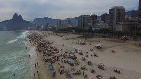 Flying over Ipanema beach in Rio de Janeiro, Brazil stock video footage