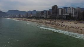 Flying over Ipanema beach in Rio de Janeiro, Brazil stock video