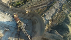 Flying over the iron ore quarry stock video