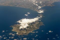 Flying over the islands of Ischia and Procida, Campania, Italy royalty free stock image