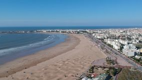 Beach in Essaouira near Marrakesh in Morocco by Drone from above stock video