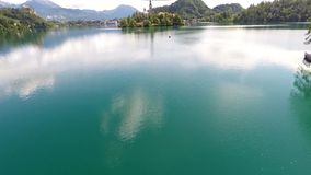 Flying over lake bled Stock Image