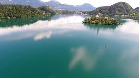 Flying over lake bled Royalty Free Stock Photos