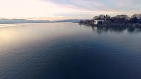 Flying over lake constance (bodensee) stock footage