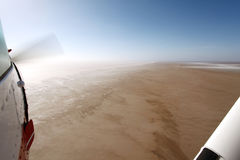 Flying Over Lake Eyre South Australia. When empty on a beautiful clear day Stock Photos