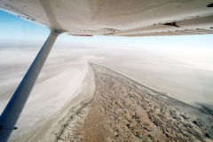 Flying Over Lake Eyre South Australia. Flying Over Lake Eyre Outback South Australia when empty on a beautiful clear day Royalty Free Stock Image