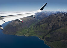 Flying over Lake Wakatipu. Lake Wakatipu, Queenstown, New Zealand. An aerial view of a glacier valley stock photo